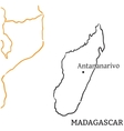 Madagascar hand-drawn sketch map vector image