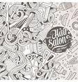 Cartoon cute doodles Hair salon frame design vector image
