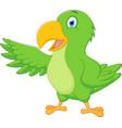 happy parrot cartoon presenting vector image