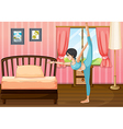 A girl exercising inside her room vector image vector image