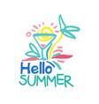 hello summer logo template colorful hand drawn vector image vector image