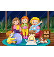 Girls and boy in pyjamas at night vector image