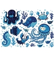 Set of cute cartoon animals in nautical style vector image