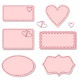 Labels pink with sewing stitches vector image