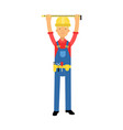builder character in overalls with belt with tools vector image