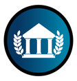 circular emblem with parthenon and olive branchs vector image