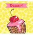 cupcake with cherry and pink frosting vector image