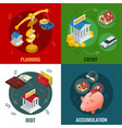 isometric business and finance icons flat 3d vector image