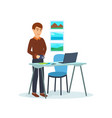 men working on his laptop create photos vector image
