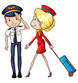 Pilot and flight attendant vector image
