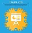 presentation board icon Floral flat design on a vector image