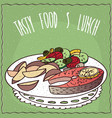 slice of salmon and vegetable salad vector image