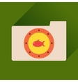 Flat icon with long shadow folder fish vector image