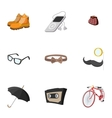 Hipsters icons set flat style vector image vector image