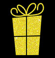 glitter simple gift box with bow in format vector image