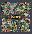 cartoon set of science doodles designs vector image