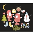 Funny characters for Christmas design vector image
