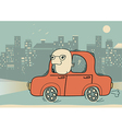 Driver man driving by car in the evening city vector image vector image