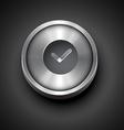 metallic clock icon vector image