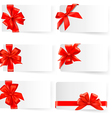 Big set of red gift bows with ribbons vector image