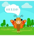 Kid in butterfly insect dress vector image