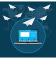 Mails flying around the world as paper airplanes vector image