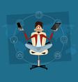 man meditating in office vector image