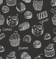 Seamless pattern with sweet cakes and candy on a vector image