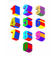 Set Crazy colorfu 3D numbers vector image