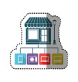 sticker colorful store online icon stock vector image