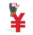 Vulture and Chinese Yen Grief and sign of money in vector image