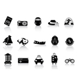 Transportation and travel icons on white vector image vector image