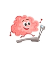 Funny smiling brain running on a treadmill vector image