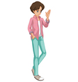 A young man with a checkered jacket vector image
