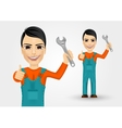 young plumber dressed in work clothes vector image