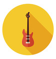 Flat String Bass Guitar Circle Icon with Long vector image