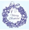 christmas wreath hand drawn llustration vector image vector image