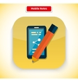 Mobile Notes App Icon Flat Style Design vector image