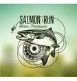 Vintage Salmon fishing emblems vector image