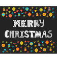 Merry Christmas greeting card Cute postcard with vector image