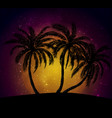Palms silhouettes at orange sunset sk vector image