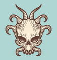 vintage monsters skull with horns vector image