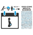 Pregnant Woman Calendar Day Icon With 1000 Medical vector image