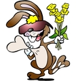Hand-drawn of an happy rabbit with a bouquet of vector image vector image