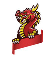 angry asian dragon grip the blank banner vector image vector image