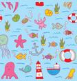 maritime seamless design pattern vector image