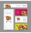 Business cards design trolley with fruits vector image vector image