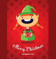christmas card with a cute christmas elf vector image