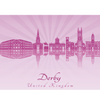 Derby skyline in purple radiant orchid vector image