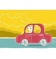 Happy man driving by car nature landscape vector image